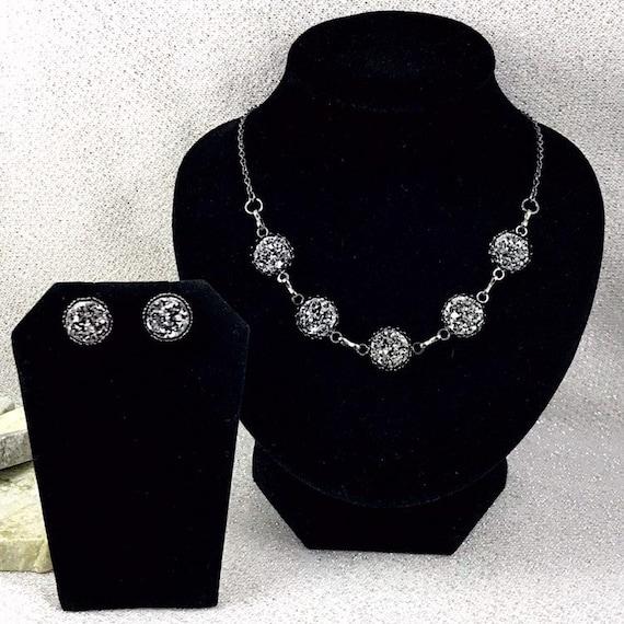 Druzy Black Druzy Jewelry Set Black Druzy Necklace and Bracelet Set Black Necklace and Bracelet Set for Bridesmaids Wedding Jewelry