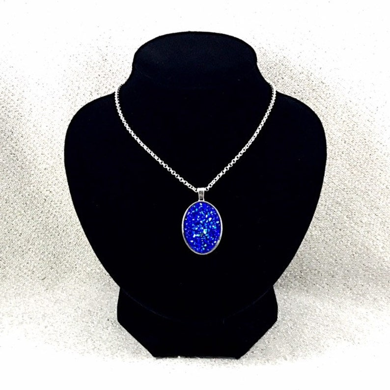 Bridesmaid Necklace Blue Druzy Necklace Oval Shaped Blue Druzy Pendant Necklace for Women Gifts for Women Wedding Jewelry