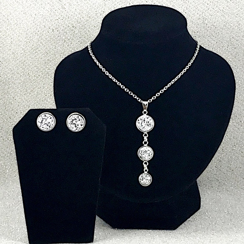 Silver Jewelry for Bridesmaids Silver Druzy Jewelry Set Druzy Jewelry Set for Women Druzy Silver Druzy Necklace and Earrings Set
