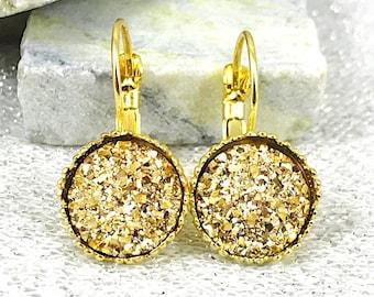 Gold Druzy Drop Earrings - Elegant Gold Druzy Dangle Earrings for Women - Gold Wedding Jewelry - Bridesmaid Gifts - Gold Leverback Earrings