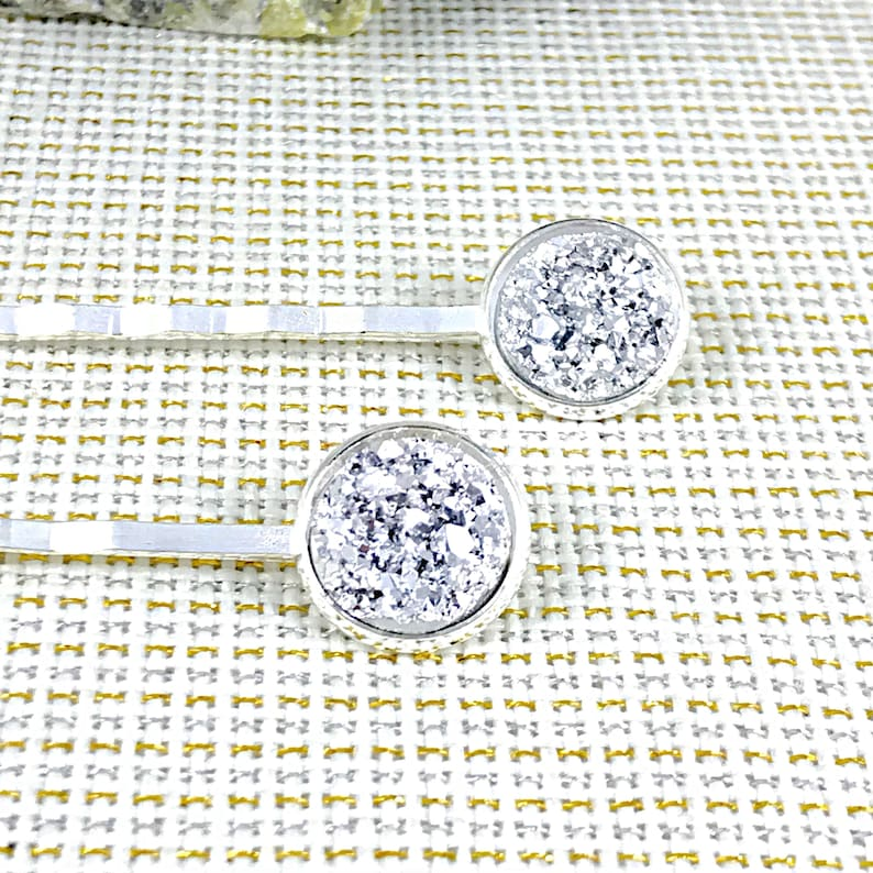 Silver Hair Pins for Bridesmaids  Gifts Silver Druzy Bobby Pins Bridesmaid Hair Pins Flower Girl Hair Pins Bridesmaids Hair Clips