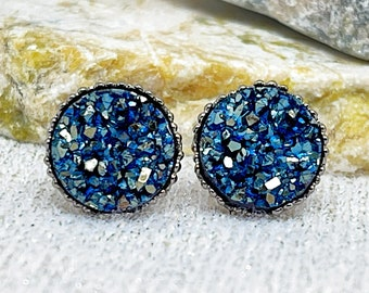 Slate Blue Druzy Stud Earrings for Women - Unique Stud Earrings for Girls - Slate Blue Druzy Jewelry - Stocking Stuffers - Secret Santa Gift