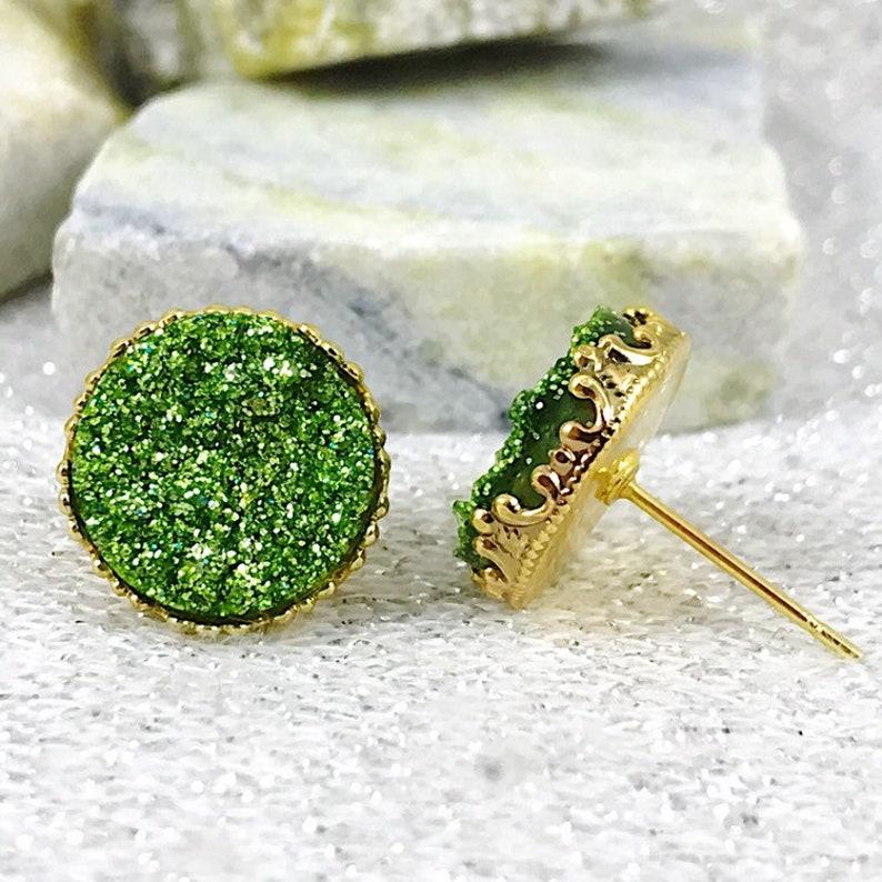 Green Glittery Druzy Stud Earrings Irish Earrings St Patricks Day Jewelry St Patricks Day Accessories St Patricks Day Stud Earrings