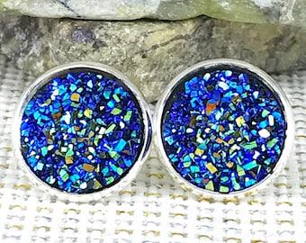 Blue Rainbow Druzy Earrings - Drusy Earrings - Bridesmaid Gift - Stud Earrings -  - Druzy - Blue - Earrings - Jewelry - Gift - Boho Jewelry