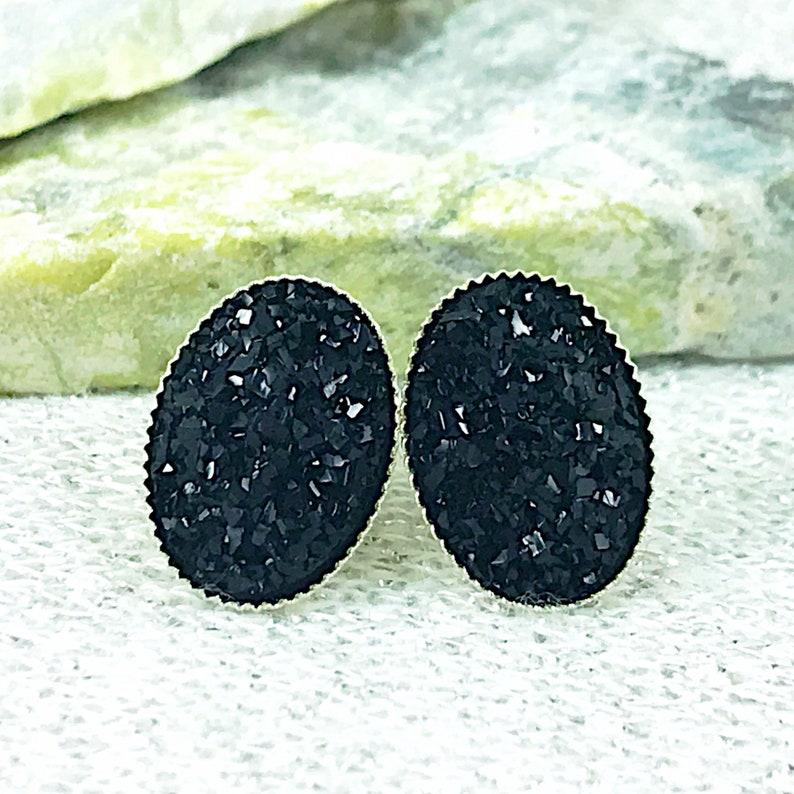 Black Druzy Stud Earrings  Oval Druzy Stud Earrings for Women image 0