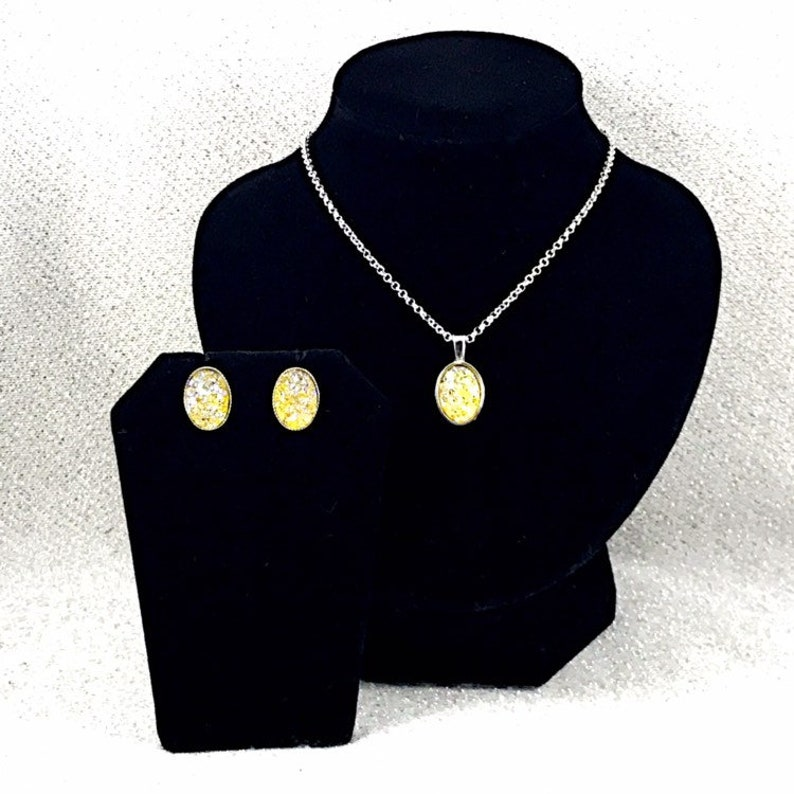 Gift for Women Druzy Yellow Druzy Necklace and Earrings Set Yellow Bridesmaids Jewelry Summer Wedding Yellow Druzy Jewelry Set