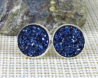 Midnight Blue Druzy Earrings - Druzy  - Drusy - Stud Earrings - Bridesmaid Gift - Blue - Jewelry - Bridesmaid Earrings - Druzy Jewelry -