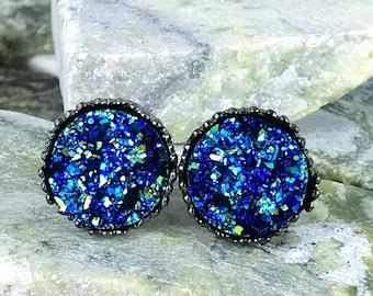 Rocky Blue Druzy Earrings - Druzy - Drusy Earrings - Bridesmaid Gift - Stud Earrings - Druzy Jewelry - Blue - Earrings - Druzy Earrings -