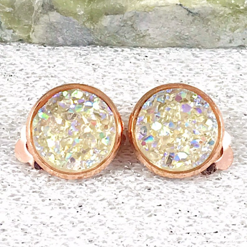 Champagne Druzy Clip On Earrings  Boho Bridesmaid Clip On image 0
