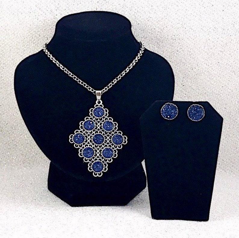 Druzy Navy Druzy Jewelry Set Wedding Druzy Statement Necklace and Earrings Bridesmaids Jewelry Nautical Bridesmaid Gifts
