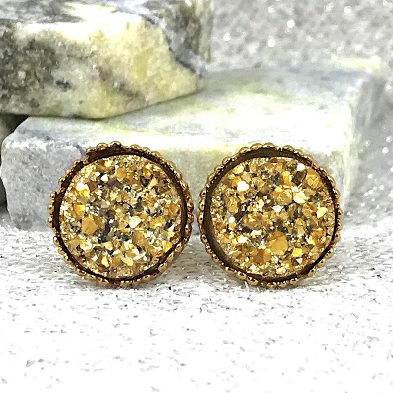 b084a6ceb Bridesmaid Gifts Gold Druzy Stud Earrings Gold Wedding | Etsy