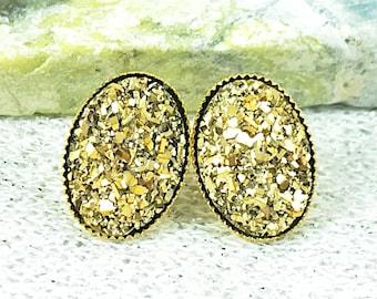 Gold Druzy Stud Earrings for Women - Oval Druzy Stud Earrings - Gold Bridesmaid Earrings - Gold Wedding Jewelry - Unique Gold Studs