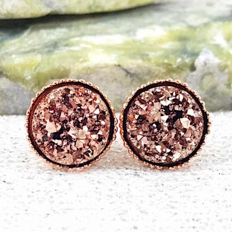 Flower Girl Earrings  Rose Gold Druzy Stud Flower Girl image 0