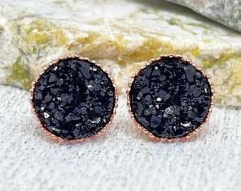 Black Bridesmaid Earrings - Black Druzy Stud Earrings for Bridesmaids - Wedding Earrings - Bridesmaid Gifts - Halloween Wedding Jewelry