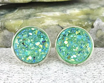 Mint Green Druzy Stud Earrings for Women - Unique Secret Santa Gifts for Her - Stocking Stuffers - Wedding Jewelry - Bridesmaid Gifts