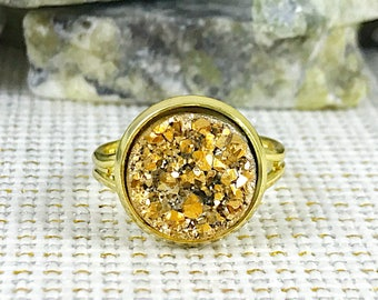 Gold Druzy Ring - Druzy - Adjustable Ring - Promise Ring - Statement Ring - Gold - Druzy Jewelry - Boho - Drusy Ring - Gold Ring - Jewelry