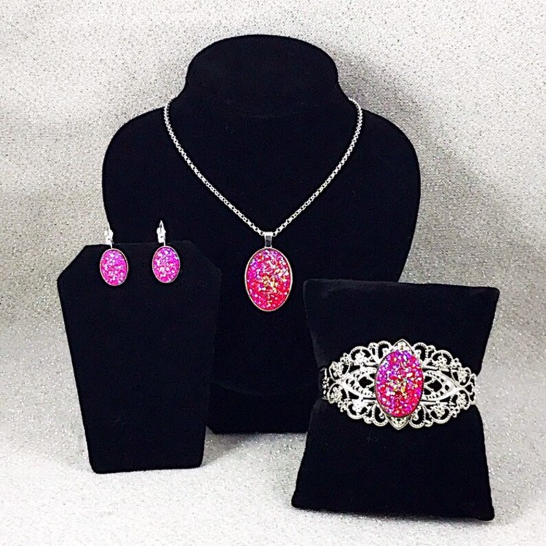 Drusy Hot Pink Cuff Bracelet Hot Pink Druzy Necklace Hot Pink Druzy Bracelet Hot Pink Druzy Earrings Hot Pink Druzy Jewelry Set