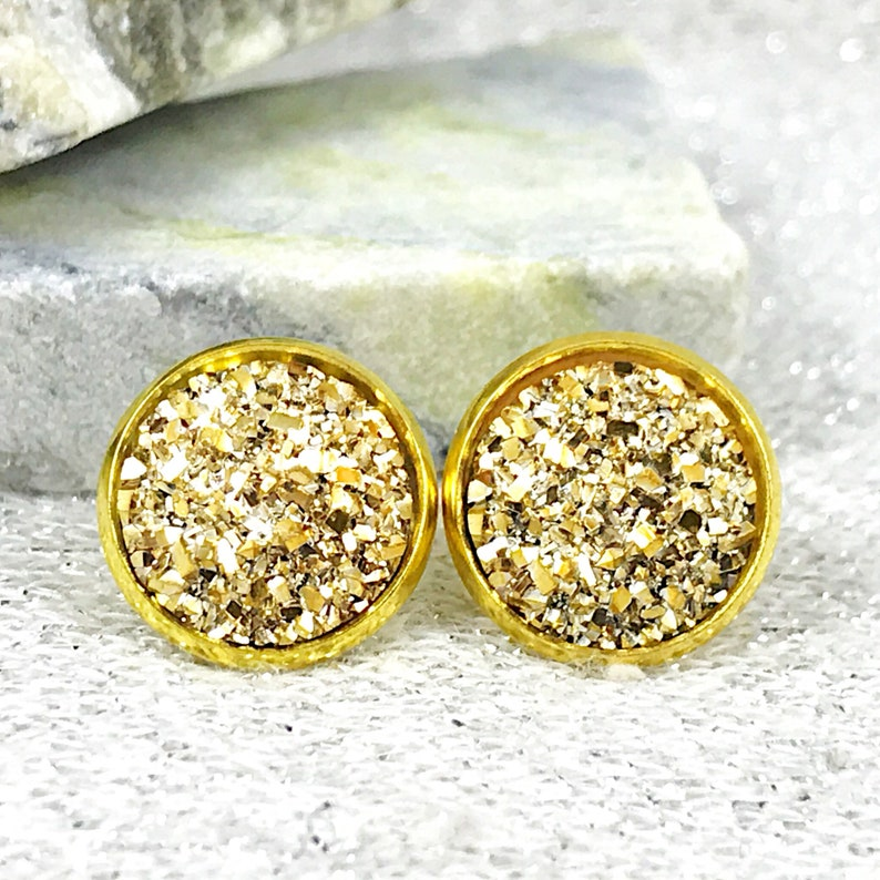 Gold Druzy Stud Earrings for Women  Sparkly Gold Stud image 1