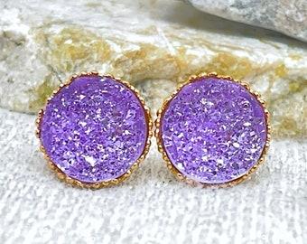Amethyst Druzy Stud Earrings for Women - Amethyst Stud Earrings for Girls - Secret Santa Gifts for Her - Stocking Stuffers for Her - Jewelry