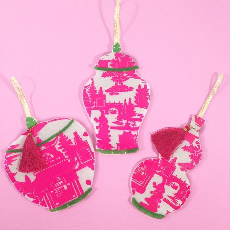 Chinoiserie Ornaments Bundle Ginger Jar Ornaments Pink And Green Christmas