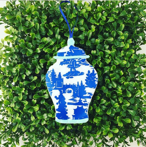 Chinoiserie Ginger Jar Blue And White Ginger Jar Ornament Chinoiserie Chic Chinoiserie Tree Chinoiserie Gift Traditional Christmas