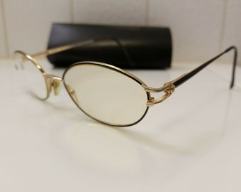 f2a0ff5a07 Fendi Vintage Eyeglass Frames F523 ONYX Gold Metal Womens Made in Italy  SIZE 51-19-140