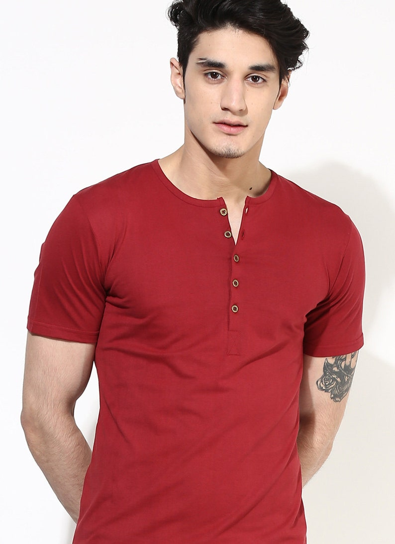 39bd395161 Red Henley T-shirt. Cherry Red T-Shirt. Mens Henley T-Shirt with wooden  buttons. Organic Cotton Henley T-shirt. #sustainablefashion