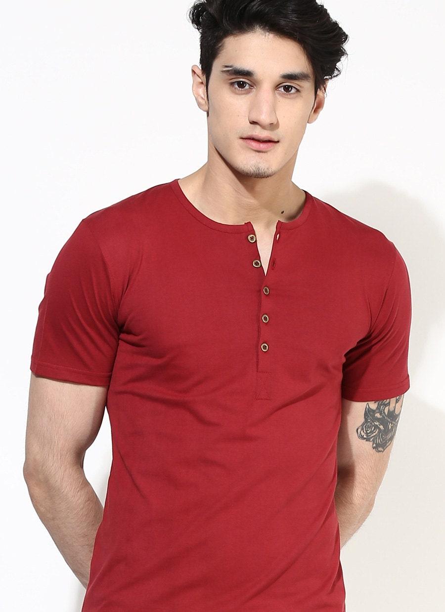 eb538d117 Red Henley T-shirt. Cherry Red T-Shirt. Mens Henley T-Shirt | Etsy