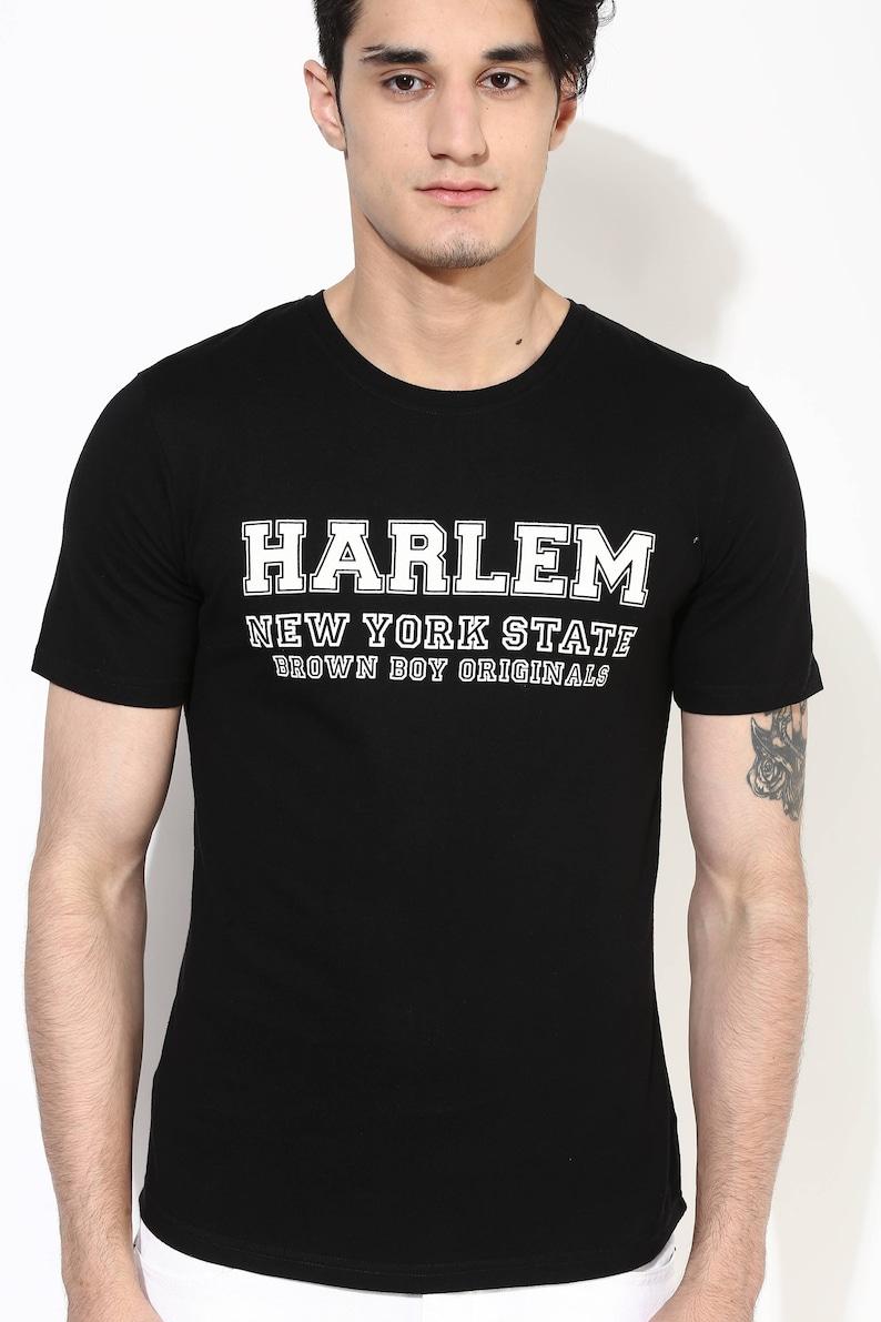 ffebbc516 Harlem Printed Organic Cotton Tee. Mens Black T-Shirt.   Etsy