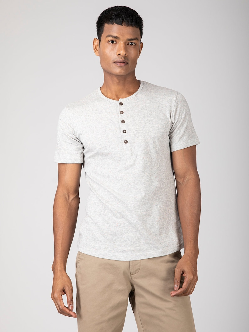 8d374d51e4 Grey Henley T-Shirt. Wooden Buttons. Organic Cotton Henley. Gifts for Men.  T-shirts with buttons. Vegan Ethical Fashion. #sustainablefashion