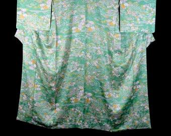 Vintage Japanese Kimono / Komon / Green / Chrysanthemum