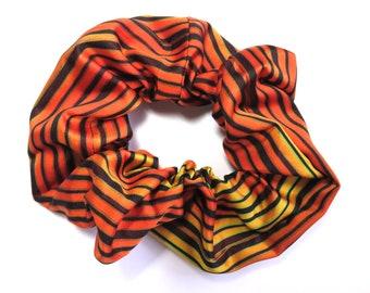 Scrunchie made from Vintage Japanese Kimono Fabric / Stripe