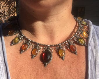 STUNNING and Unique Amber Chunky Necklace