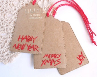 hand embroidered christmas hang tags merry xmas tags with string kraft labels custom blank tags happy new year tag made italy silag