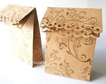 5 Hand-printed kraft paper gift bags, wedding favor paper bags, party bags, custom gift bags, wedding packaging, kraft paper packaging