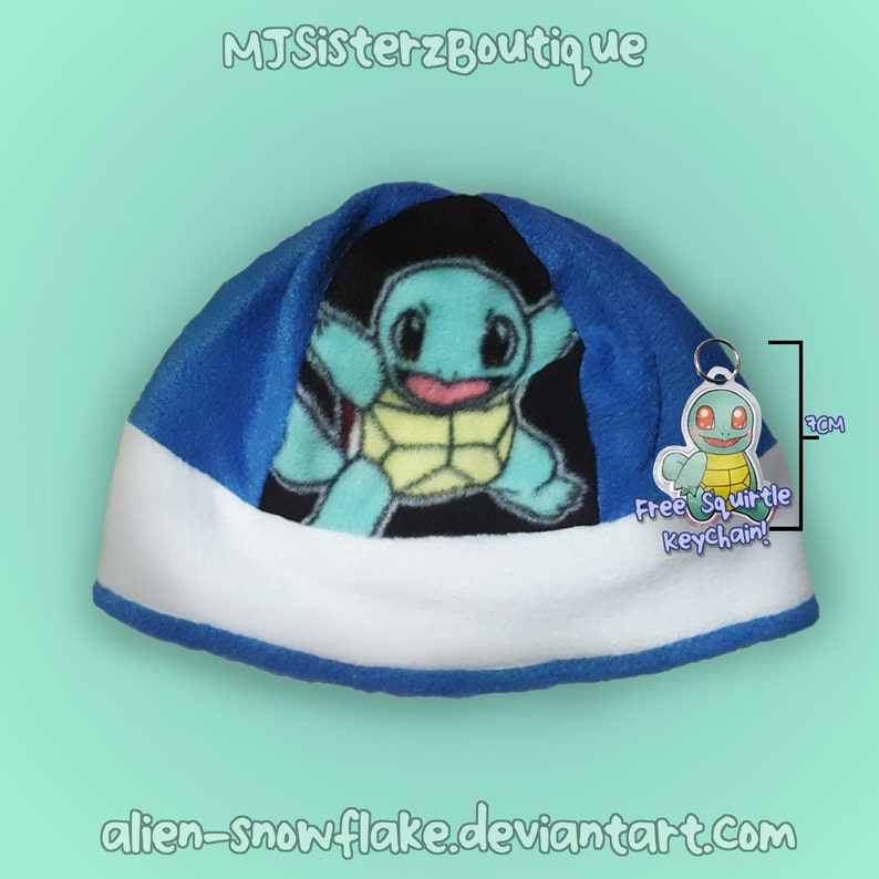a9d659f8c62 Pokémon Squirtle Fleece Beanie Hat Handmade Kids Teens Adults