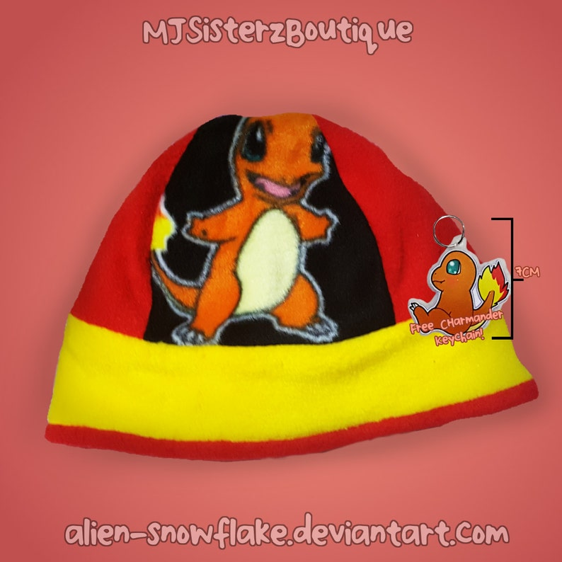 696519af33c Pokémon Charmander Fleece Beanie Hat Handmade Kids Teens