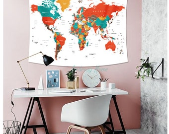 World map tapestry etsy vivid color world map tapestry headboard wall art bedspread dorm tapestry gumiabroncs Images