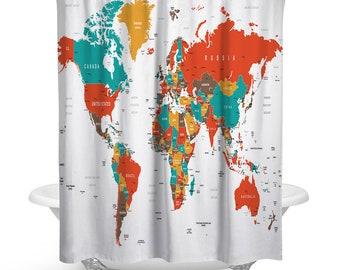 Colorful World Map Traveler Fabric Shower Curtain Set For Bathroom Unique Luxurious Modern Designer Vibrant Art Decor