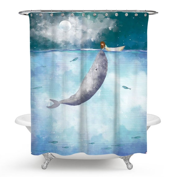 Blue Whale Shower Curtain Dreamy View Of And Dream In