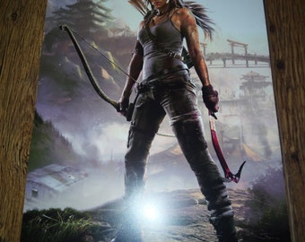971a1a3984d3a3 Tomb Raider Lara Croft Village In Mountains Video Game Display Poster