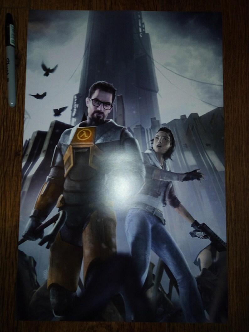 Half Life 2 Gordon Freeman Alyx Vance City 17 Video Game Display Poster