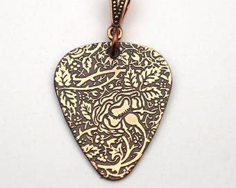Copper rose guitar pick pendant, etched jewelry, gift for music lover 30mm