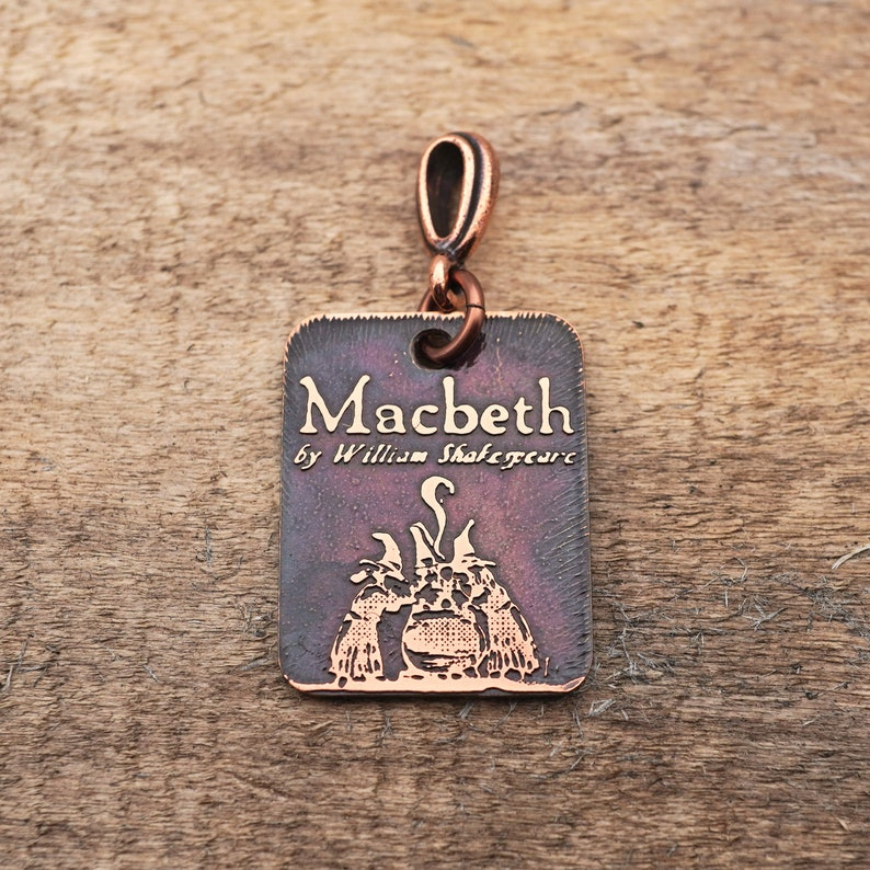 25mm play small rectangular flat copper witches jewelry William Shakespeare etched metal Macbeth pendant
