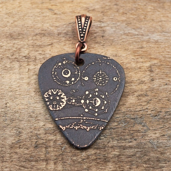 Guitar pick pendant gift for guitar player 30mm etched copper inspirational jewelry pick music