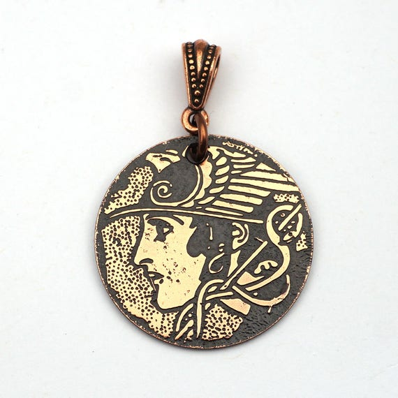 Copper Hermes Pendant Mercury Messenger Of The Gods Greek Etsy