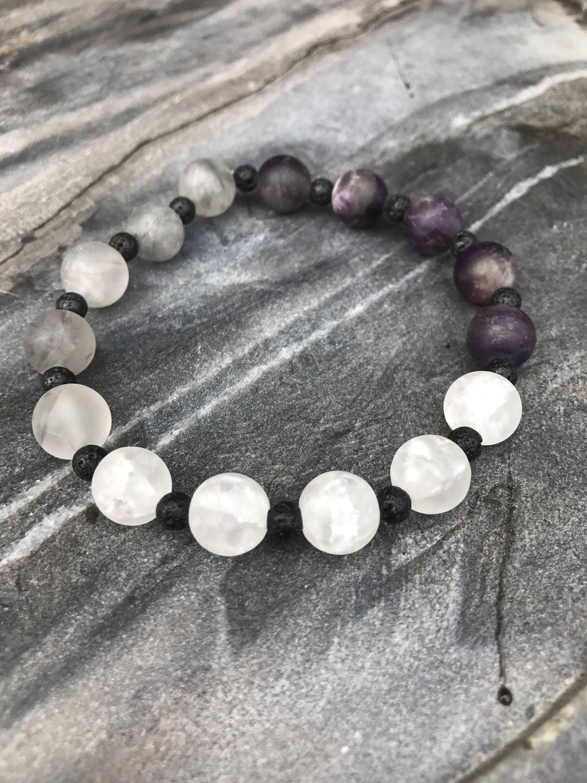 Amethyst mens bracelet, gemstone gift for him, beaded stacking ...