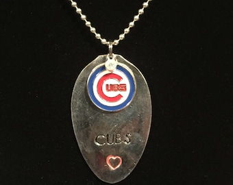 Chicago Cubs necklace, spoon necklace, cubs fan gift, girlfriend cubs gift, cubs spoon necklace.