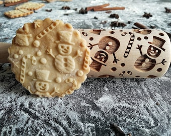 Embossing Cookies CHRISTMAS ORNAMENT Christmas Gingerbread Decorative Gift SNOW Snowflakes Winter Wooden roller engraved Stamp