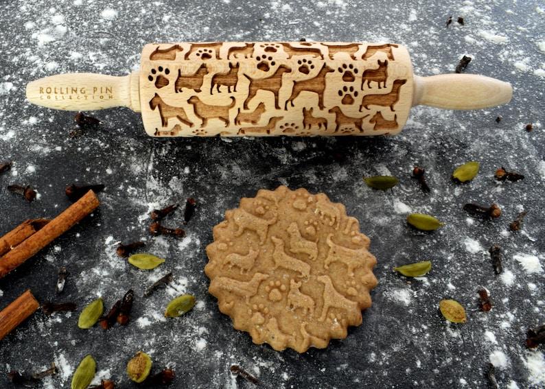 laser engraved rolling pin DOGS small rolling pin kids rolling pin embossing rolling pin